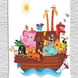 Tapestry  Noahs Ark Print Wall Hanging Backdrop